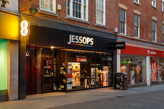 Frontage of the Jessops camera store at night, Nottingham. Royalty Free Stock Image