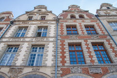 Frontage of nice houses. Nice and clear view of frontages of hitoric buildings in Arras, north of France stock image