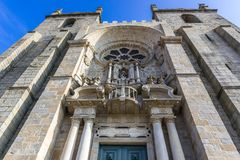 Cathedral in Porto. Frontage of Se Cathedral in Porto city in Portugal Stock Images