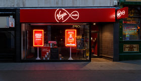 Frontage of the Virgin Media store at night on Clumber Street, Nottingham Royalty Free Stock Photos