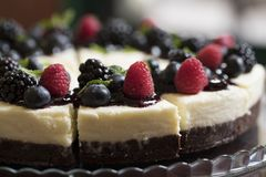 Frontal berries cheesecake royalty free stock photo