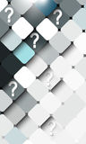 Frontal block structure with question mark elements background Royalty Free Stock Photos