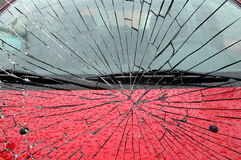 Frontal car crash. View at a horrible frontal car crash from one crashed car royalty free stock photos