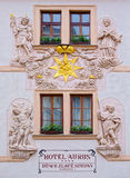 Frontal decor of Aurus Hotel. Royalty Free Stock Images