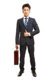 Frontal del hombre de negocios con la cartera fotos de archivo