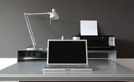 Frontal Home office desk Stock Photography