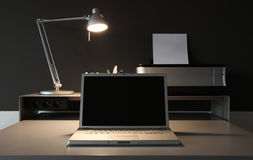 Frontal Home office desk whit lamp Stock Images