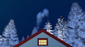 Frontal house gable and winter night sky. Frontal close up view of a house gable with smoking chimney among snowy firs against starry night sky at winter night Stock Photos