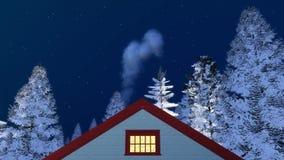 Frontal husgavel och vinternatthimmel stock illustrationer
