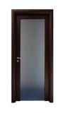 Wooden door with a metallic detail Stock Photography