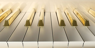 Gold Piano front. Frontal plane with gold keys Royalty Free Stock Image