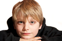 Frontal portrait of young handsome boy. Close up portrait of young handsome boy with expressive face stock image
