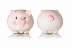 Frontal and rear views of piggybank Stock Photo
