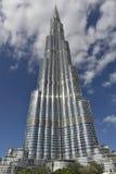 Frontal sikt av Burj Khalifa, Dubai, Förenade Arabemiraten Royaltyfria Foton