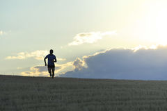 Frontal silhouette of young man running in countryside training in summer sunset Royalty Free Stock Images