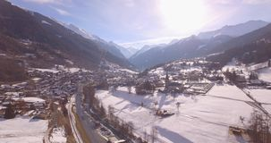 Le Chable, frontal traveling - Aerial 4K stock footage