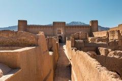 View of an adobe castle Rayen, Iran royalty free stock photo