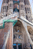 Frontal view of this architecture masterpiece, La Sagrada Familia Royalty Free Stock Photography
