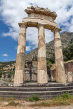Frontal view Athena Pronaia Sanctuary at Ancient Greek archaeological site of Delphi, Greece Royalty Free Stock Images