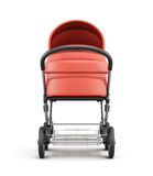 Frontal view of a baby stroller. 3d rendering. Frontal view of a baby stroller on a white background. 3d rendering Royalty Free Stock Photography
