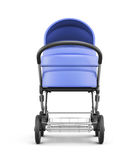 Frontal view of a baby stroller isolated on white background. 3d Royalty Free Stock Images