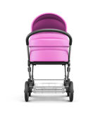 Frontal view of a baby stroller on a white background. 3d render Stock Photos