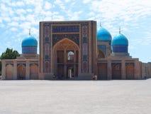 Frontal view of Barak-Khan Madrassah in Tashkent, Uzbekistan Stock Photo