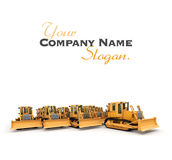 Frontal view of a big group of bulldozers royalty free illustration