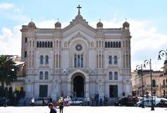 Duomo di Reggio Calabria, cathedral di Maria Assunta in cielo. Frontal view of cathedral of Maria Assunta in cielo, a roman catholic church in Reggio Calabria royalty free stock photo