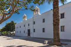 Frontal view of Church of Panagia Ekatontapiliani in Parikia, Paros island, Greece Royalty Free Stock Photos