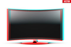 Frontal view of curved widescreen led or lcd tv with visual stereo effect Stock Photos