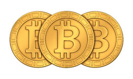 Frontal view of 3D rendered engraved golden Bitcoins Stock Image
