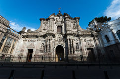 Frontal view of emplematic church in historical center of Quito, all together with the sun. Frontal view of emplematic church in historical center of Quito stock photos