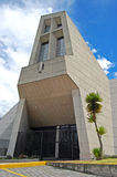 Frontal view of the entrance of a modern church. Quito Ecuador Royalty Free Stock Photo
