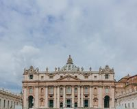 Facade of St. Peter`s Basilica in Vantican City stock images