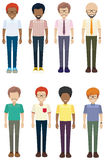 Frontal view of the faceless men. Frontal view of the eight faceless men on a white background Royalty Free Stock Photo