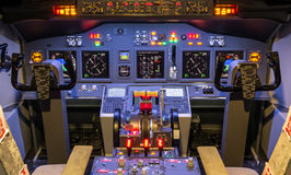 Cockpit of an homemade Flight Simulator - Boeing 7. Frontal view of an homemade cockpit a Flight Simulator, type Boeing 737-800 Stock Photography