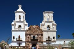 A frontal view of the Mission showing the 2 towers of the 2 towers of the Mission. Stock Photography