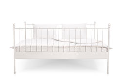 Frontal view of a modern white bed Royalty Free Stock Photo