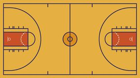 Free Frontal View Of Basket Or Basketball Field. Geometric And Flat. Royalty Free Stock Image - 154497636