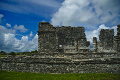 Frontal view of one of the buildings at the ancient Mayan site in Tulum, Quintana Too, Mexico. Stock Photography