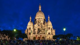 Frontal view of Sacre coeur Sacred Heart cathedral day to night timelapse. Paris, France. Frontal view of Sacre coeur Sacred Heart cathedral day to night stock video
