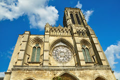 Frontal view of Soissons cathedral Stock Images