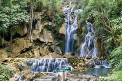 Kuang Si Falls - Waterfalls at Luang Prabang, Laos. Frontal view of the spectacular waterfalls near Luang Prabang in Laos Stock Photo