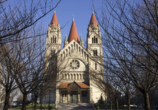 Frontal view of St.Francis of Assisi church in Vienna Stock Photography