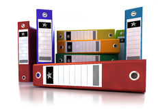 Frontal view of a stack of ring binders Stock Image