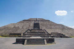Frontal view of the Sun Pyramid at Teotihuacan Ruins - Mexico City, Mexico. Frontal view of the Sun Pyramid at Teotihuacan Ruins in Mexico City, Mexico stock photos