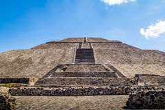 Frontal view of the Sun Pyramid at Teotihuacan Ruins - Mexico City, Mexico Stock Photography