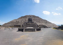 Frontal view of The Sun Pyramid at Teotihuacan Ruins - Mexico City, Mexico Royalty Free Stock Photo