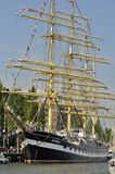 Frontal view of the tall ship Kruzenshtern. Port Ijhaven, Amsterdam, the Netherlands - August 20, 2015: The Kruzenshtern tall ship (Russia), at the time of the Stock Images